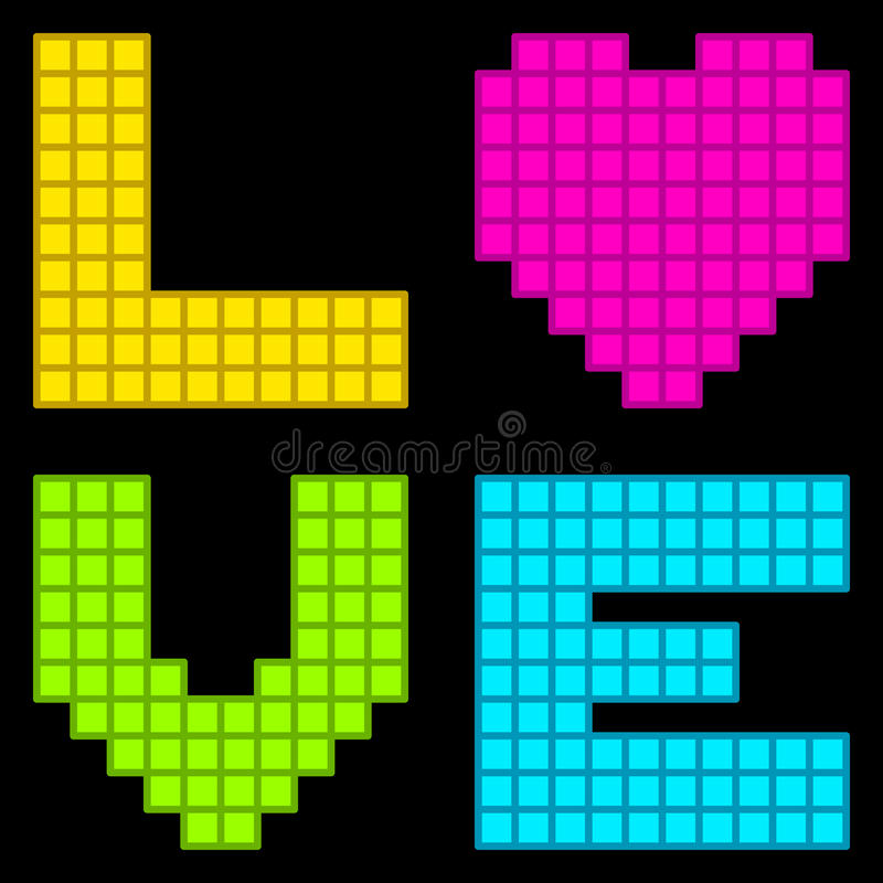 rétro coeur à 8 bits d'amour de pixel illustration stock