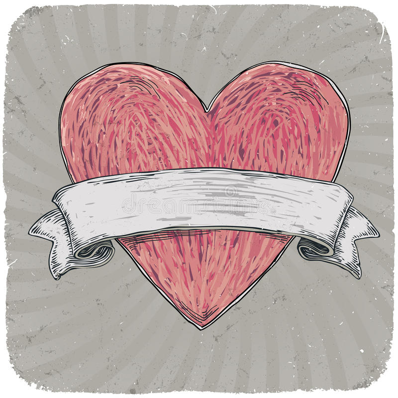 Rétro coeur dénommé de tatouage avec la bande. illustration de vecteur