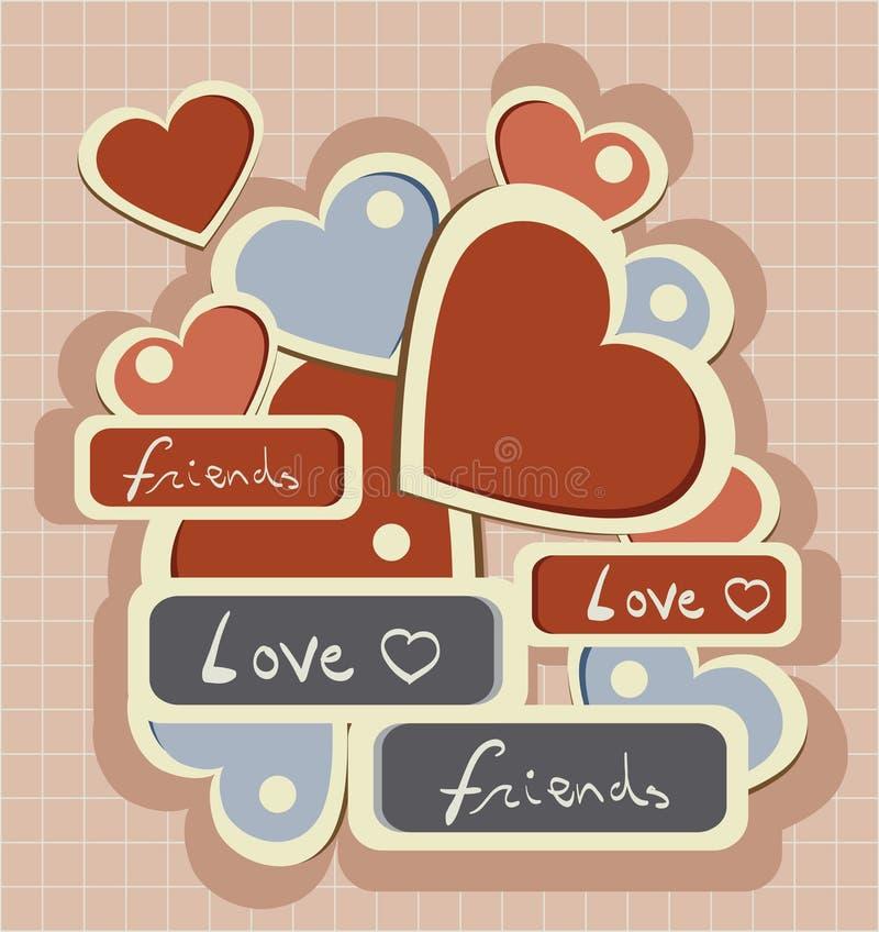 Rétro coeur d'amour de typographie illustration stock