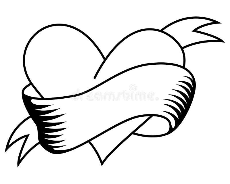 Rétro coeur de coloration avec le tatouage de ruban illustration libre de droits