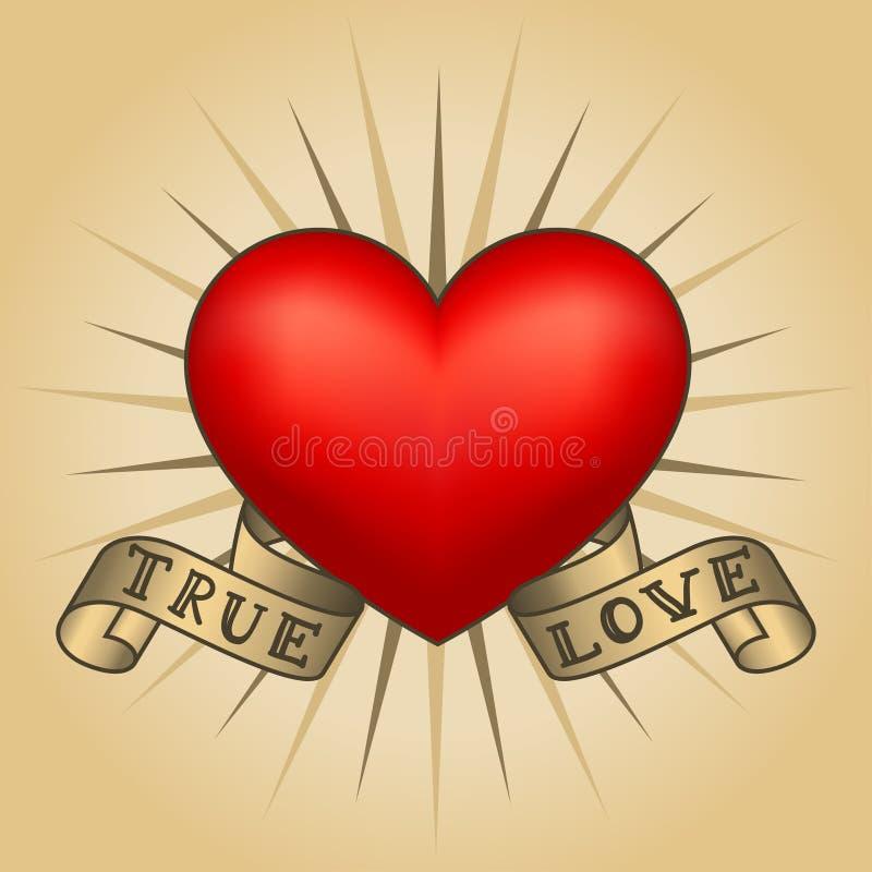 Rétro coeur de tatouage avec des rubans d'or Carte heureuse de jour du `s de valentine illustration libre de droits