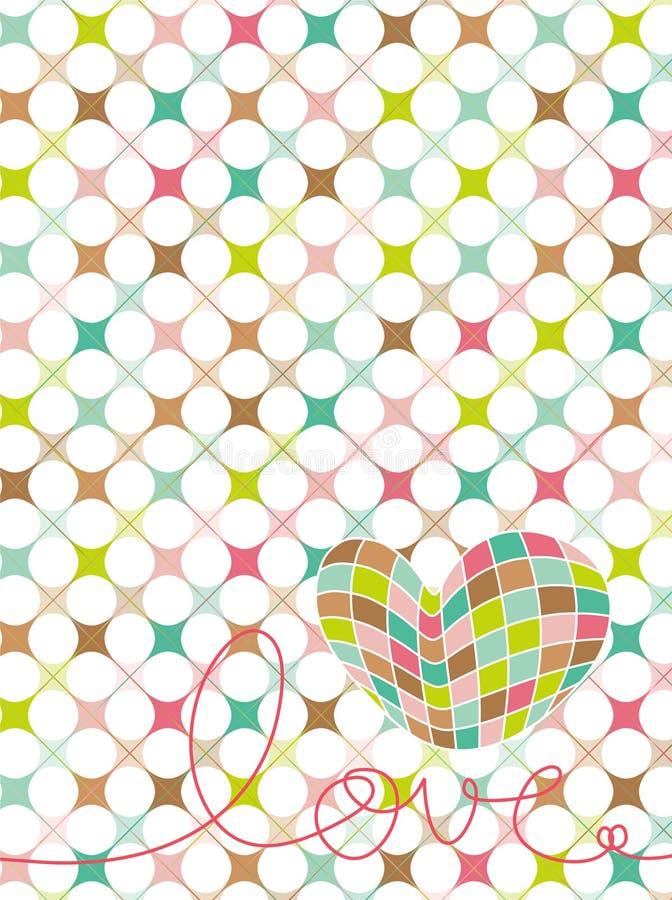 Rétro coeur en pastel d'amour de mosaïque illustration libre de droits