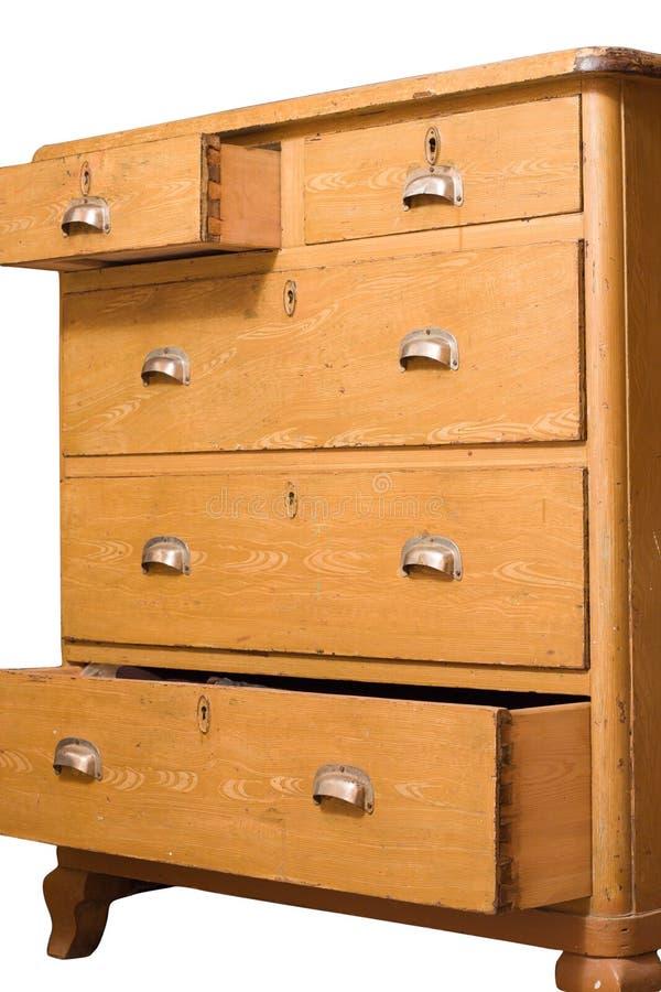 Rétro coffre des tiroirs en bois photo stock