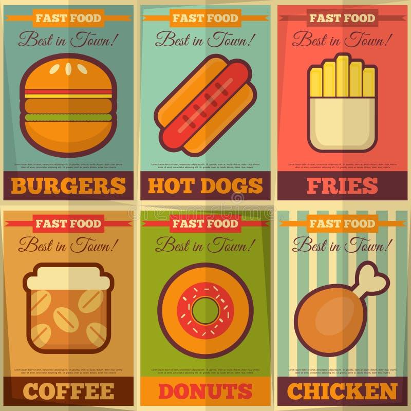 Rétro collection d'affiches d'aliments de préparation rapide illustration libre de droits