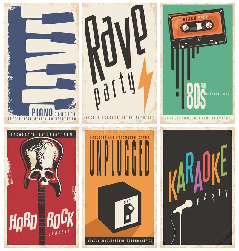 Rétro collection d'affiches de musique illustration stock