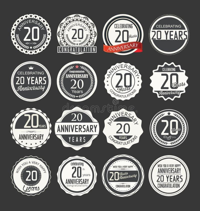 Rétro collection d'insigne d'anniversaire, 20 ans illustration libre de droits