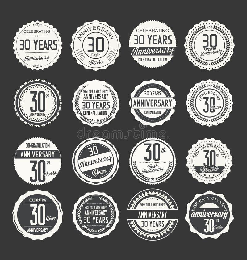 Rétro collection d'insigne d'anniversaire, 30 ans illustration libre de droits