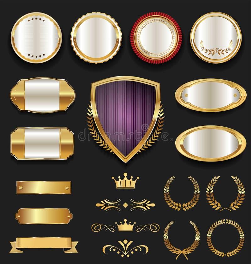 Rétro collection d'insigne d'or de luxe de qualité illustration de vecteur