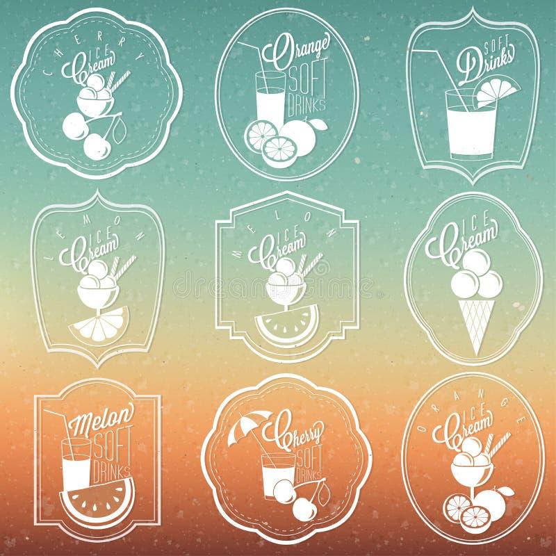 Rétro collection d'ornement de vintage pour la crème glacée et les boissons non alcoolisées illustration stock