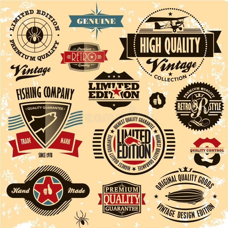 Rétro collection de cru d'étiquettes et d'insignes de type. illustration de vecteur
