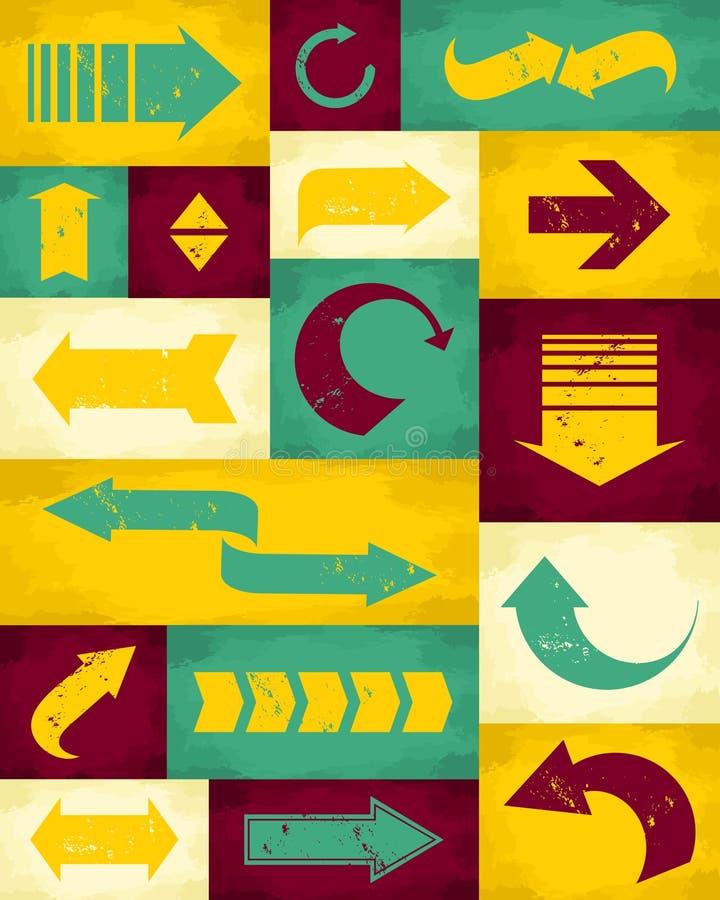 Rétro collection de flèches illustration de vecteur
