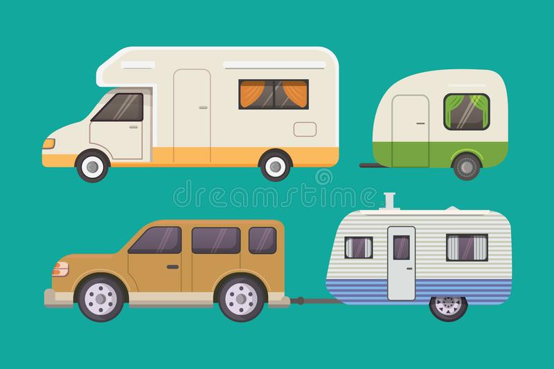 Rétro collection de remorque de campeur caravane de remorques de voiture tourisme illustration stock