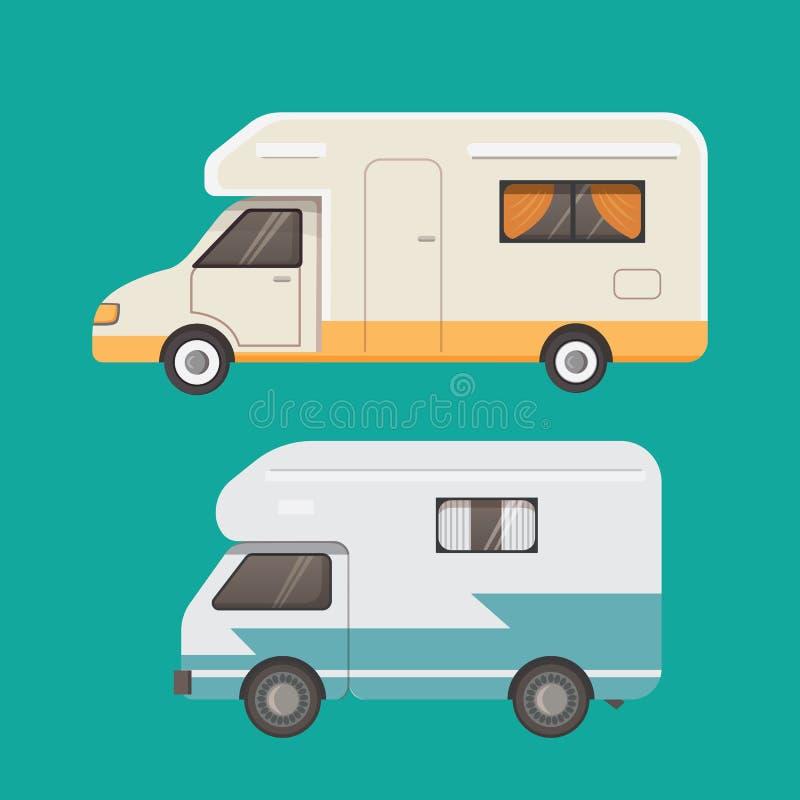 Rétro collection de remorque de campeur caravane de remorques de voiture tourisme illustration libre de droits