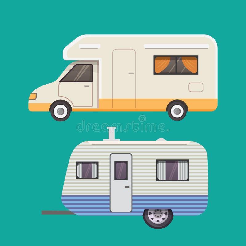 Rétro collection de remorque de campeur caravane de remorques de voiture tourisme illustration de vecteur