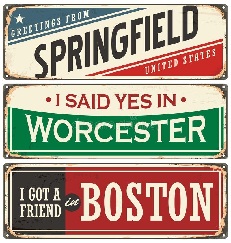 Rétro collection de signe de bidon avec des noms de ville des Etats-Unis illustration de vecteur