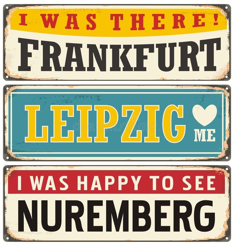 Rétro collection de signe de bidon avec les villes allemandes illustration de vecteur