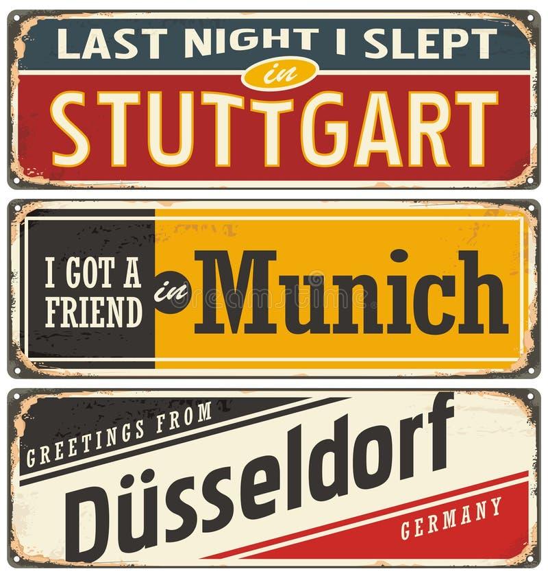 Rétro collection de signe de bidon avec les villes allemandes illustration libre de droits