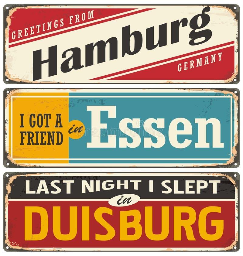 Rétro collection de signe de bidon avec les villes allemandes illustration stock