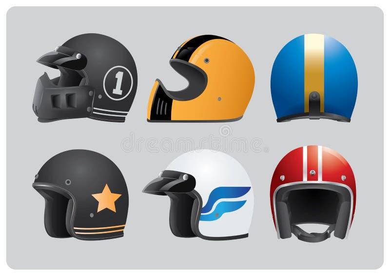 Rétro collection faite sur commande fraîche de casques illustration libre de droits