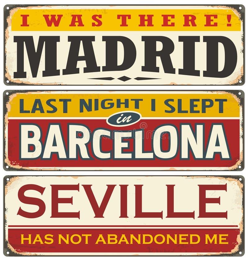 Rétro collection unique de signe de bidon avec des villes en Espagne illustration stock