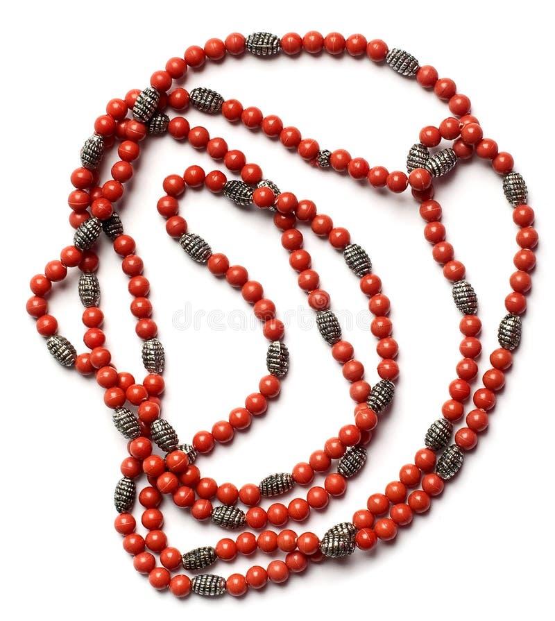 Rétro colliers indiens de corail rouge photographie stock libre de droits