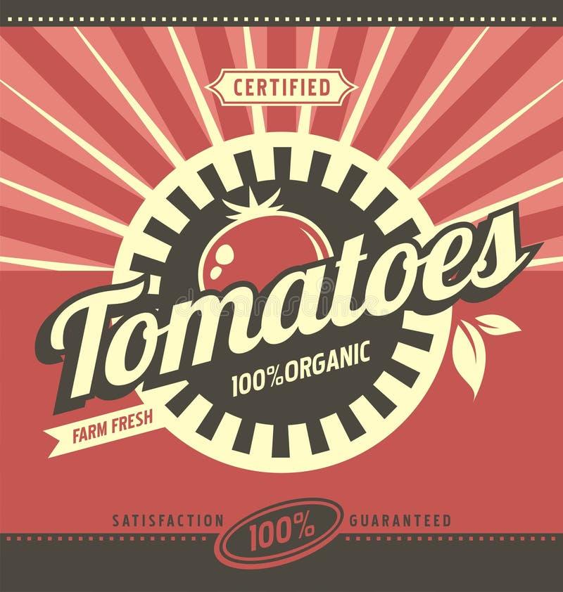 Rétro concept d'annonce de tomates illustration stock