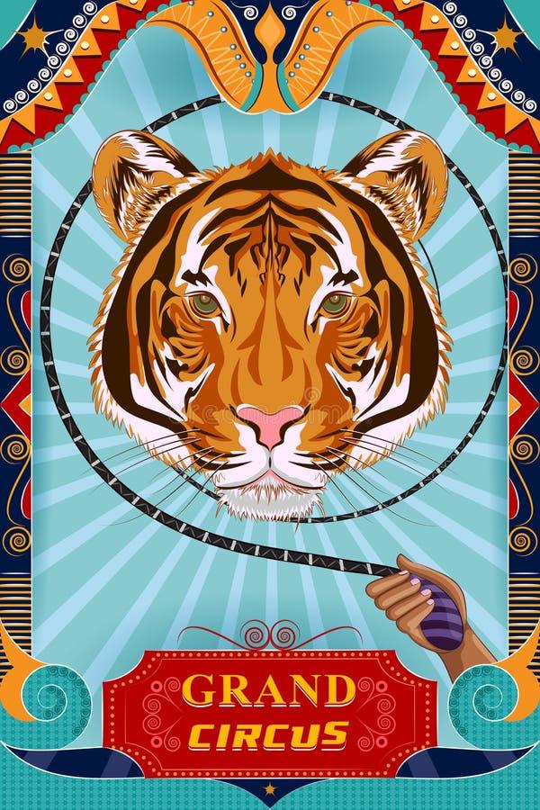 Rétro conception d'affiche de bannière de partie de cirque de vintage illustration stock