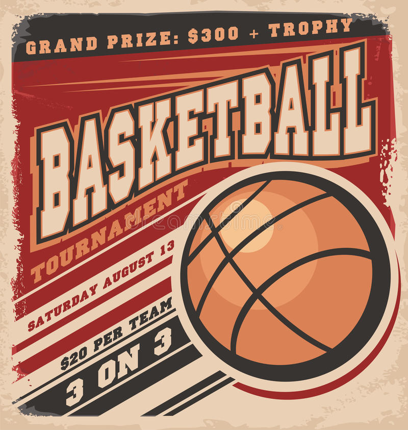 Rétro conception d'affiche de basket-ball illustration libre de droits
