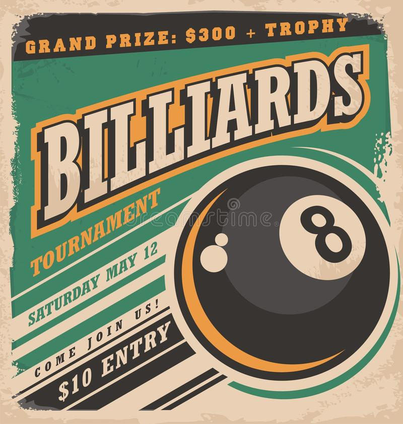 Rétro conception d'affiche pour le tournoi de billards illustration libre de droits