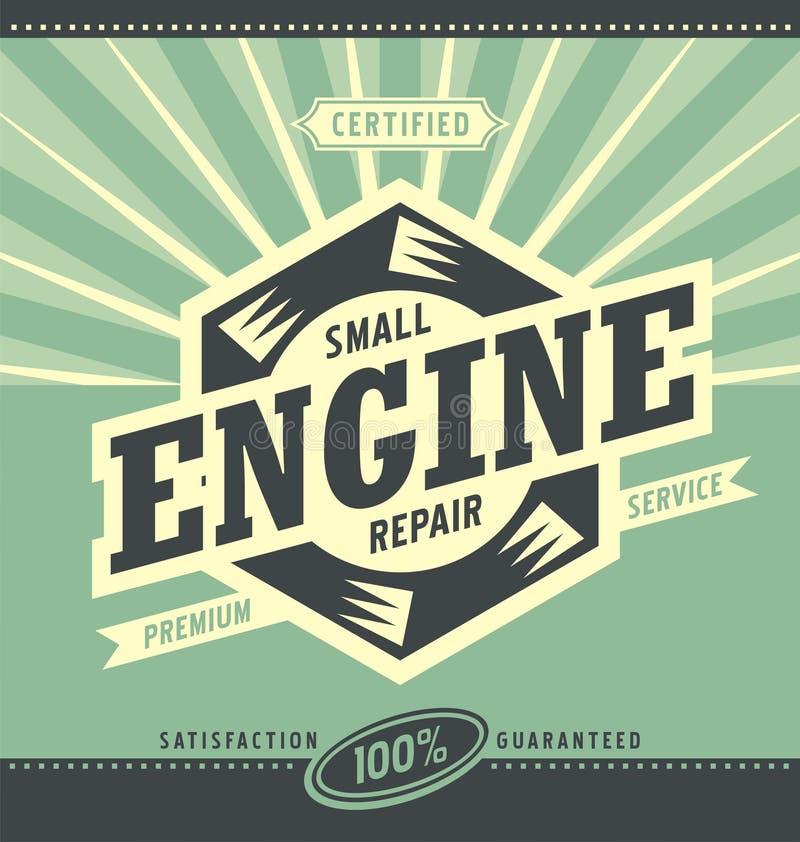 Rétro conception d'annonce de petite réparation de moteur illustration libre de droits