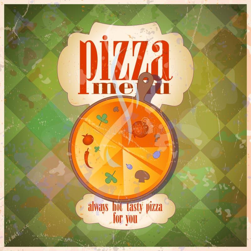 Rétro conception de carte de carte de pizza. illustration libre de droits