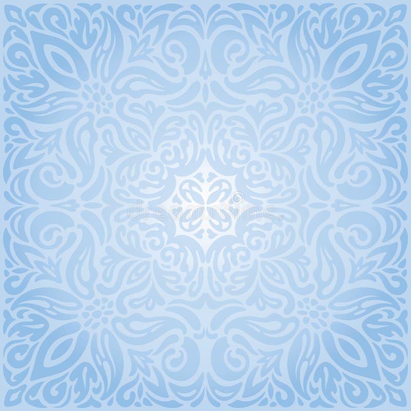 Rétro conception de mandala de papier peint de vecteur de vintage décoratif sans couture floral bleu doux de fond illustration libre de droits