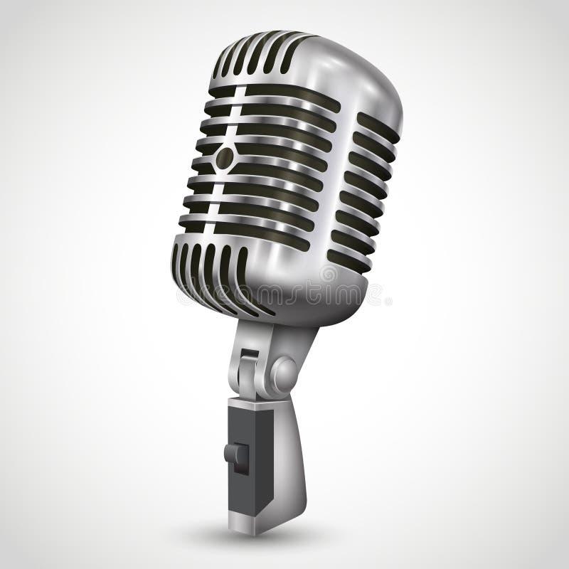 Rétro conception de microphone argenté simple réaliste illustration de vecteur