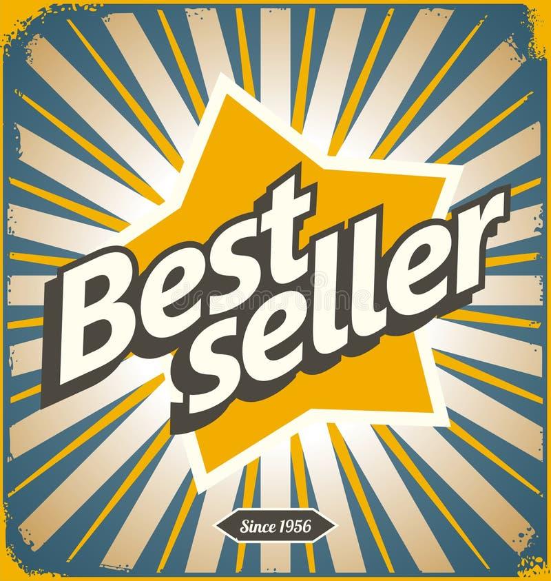 Rétro conception de signe de bidon de best-seller illustration stock