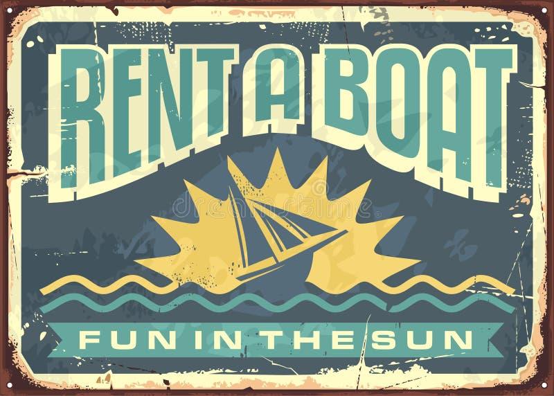 Rétro conception de signe de bidon pour des locations de bateau illustration stock
