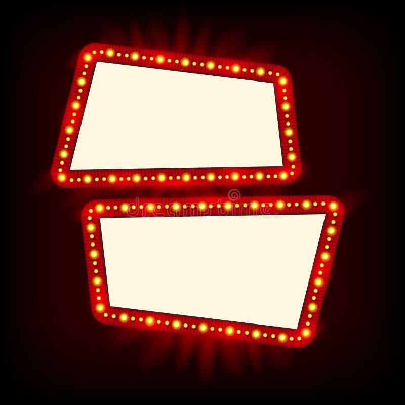 Rétro conception de signe des années 1950 de Showtime Panneau d'affichage de lampes au néon Vue d'ampoules de Signage de cinéma e illustration stock