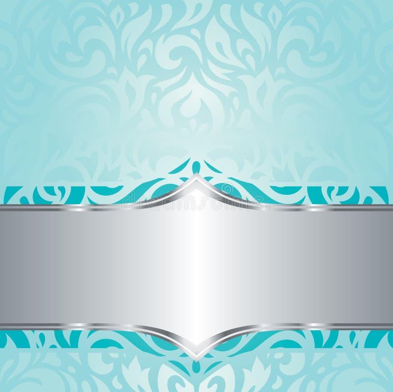 Rétro conception florale de fond d'invitation de vintage de vacances de turquoise et d'argent illustration de vecteur