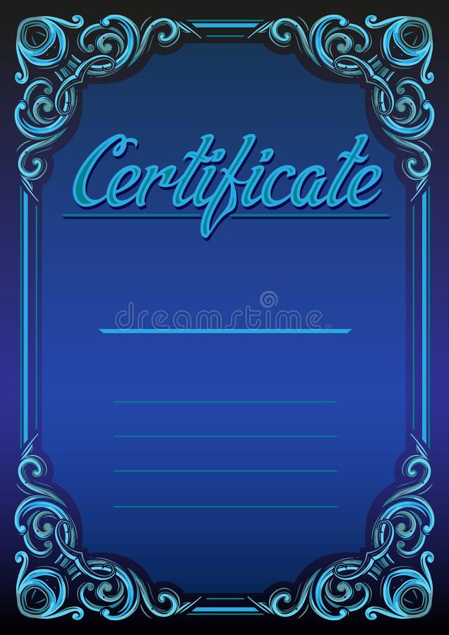 Rétro conception graphique de calibre de certificat-prime illustration de vecteur