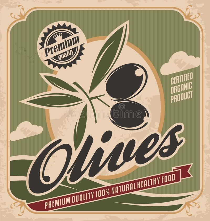Rétro conception olive d'affiche illustration de vecteur