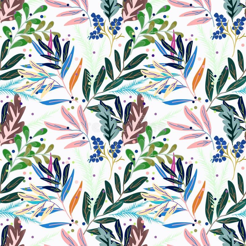 Rétro configuration florale sans joint Feuilles multicolores sur le blanc illustration libre de droits