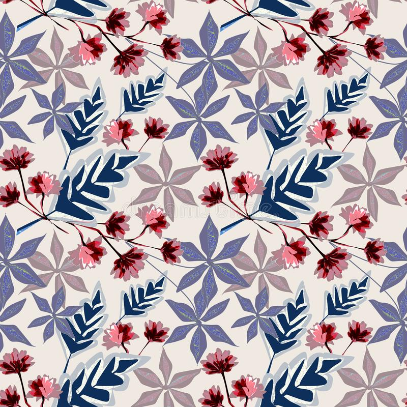 Rétro configuration florale sans joint Fleurs roses, feuilles bleues sur un fond clair illustration stock