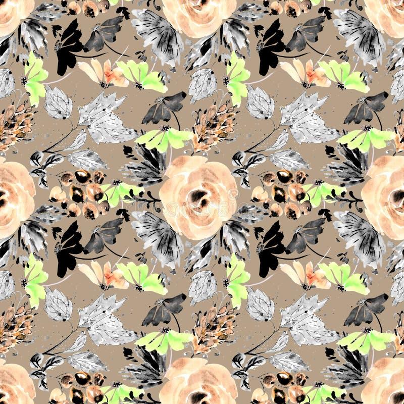 Rétro configuration florale sans joint Roses oranges, fleurs, brindilles, baies sur un fond brun clair illustration stock