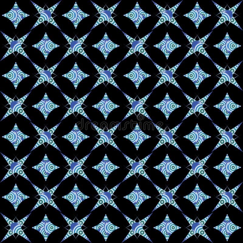 Rétro configuration sans joint blanche et bleue sur le noir illustration libre de droits