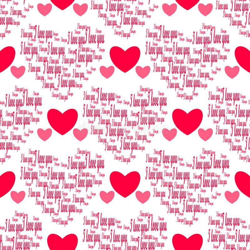 Rétro configuration sans joint Coeurs roses et je t'aime sur le fond blanc illustration de vecteur