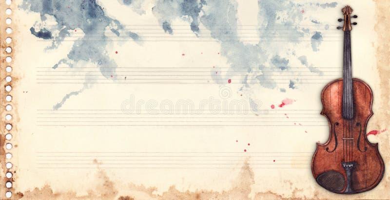 Rétro contexte de grunge de texture de fond de cadre d'instrument de musique de violon de feuille de musique d'aquarelle de vinta illustration libre de droits