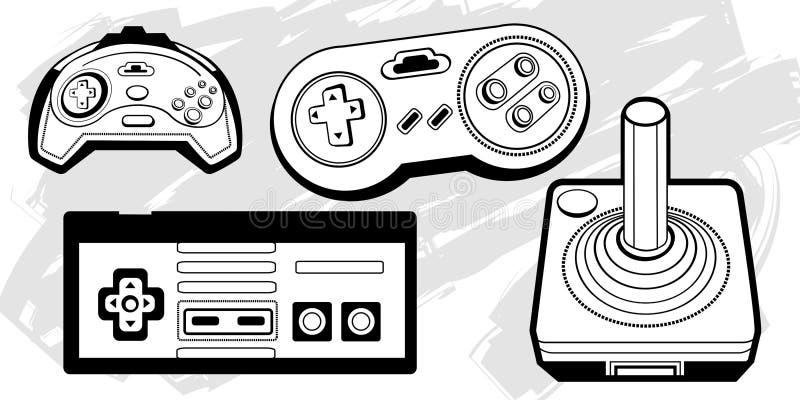 Rétro contrôleurs de jeu illustration de vecteur