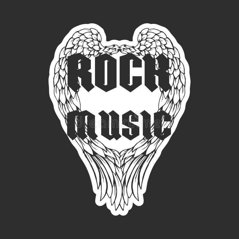 Rétro copie de T-shirt ou couverture de disque de musique avec des ailes d'ange et la texture grunge illustration stock