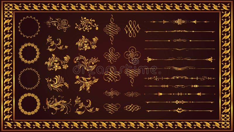 Rétro couleur décorative d'or d'art de frontières de cadres illustration libre de droits