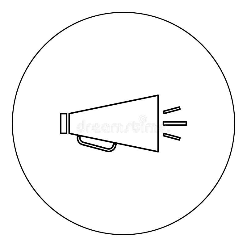 Rétro couleur de noir d'icône de haut-parleur dans l'illustration de vecteur de cercle d'isolement illustration de vecteur