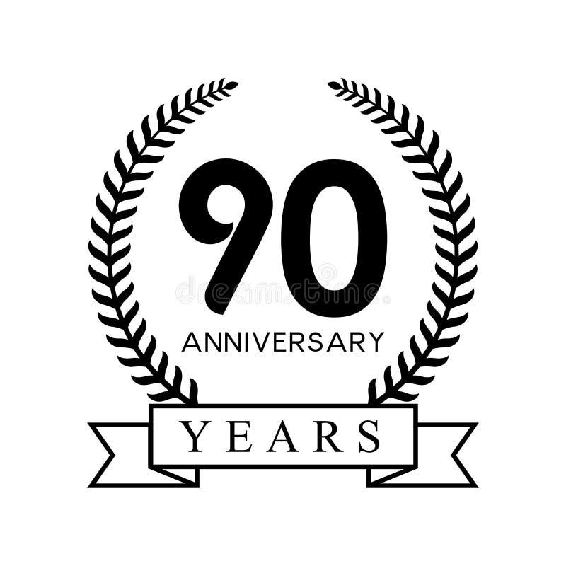 rétro couleur noire de quatre-vingt-dixième d'anniversaire d'années guirlande de laurier illustration stock
